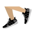 Legs with black Fitness sneakers design icon