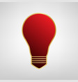 light lamp sign red icon on gold sticker vector image vector image