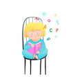 little girl reading a book holding open abc vector image vector image