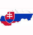 Map of Slovakia with national flag vector image