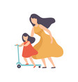 mother teaching daughter to ride kick scooter vector image vector image