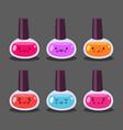 nail polish set of cute cartoon doodle characters vector image