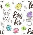 pattern with eggs rabbit and chicken vector image vector image