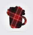 red black tartan isolated icon - beer with foam vector image