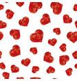 red polygonal heart random seamless pattern vector image vector image