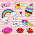 set girls fashion cute patches fun stickers vector image vector image