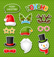 set merry christmas photo booth stickers vector image vector image