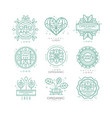set of organic and natural logo design vector image vector image