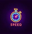 speed neon label vector image