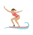 Summer activity girl surfing on the waves flat