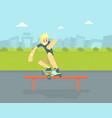 teen boy in baseball cap riding skateboard vector image vector image