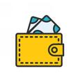 Wallet outline icon vector image vector image