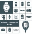 Wearable Technologies Icons Black vector image vector image