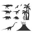 set world of dinosaurs prehistoric world t-rex vector image