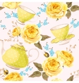 Seamless teapots cups and flowers vector image