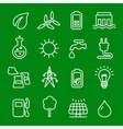Flat thin line icons set of power and vector image