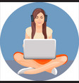 woman with crossed legs in yoga position sitting vector image