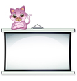 A cat above the empty bulletin board vector image vector image
