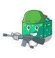 army character wooden box of kids toys vector image vector image