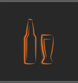 beer bottle silhouette and glass grocery vector image