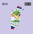 belize map border with flag eps10 vector image vector image