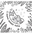 black and white contour floral card with cat or vector image