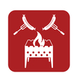 Brazier and sausage icon vector image