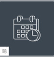 calendar with clock related line icon vector image vector image