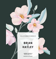 card with magnolia flower leaves wedding ornament vector image