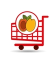 cart shopping fruit peach icon graphic vector image