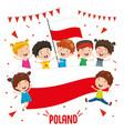 children holding poland flag vector image vector image