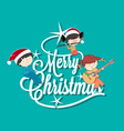 Children playing music on Merry Christmas tree let vector image