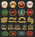 collection of golden retro vintage badges 03 vector image vector image