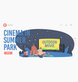 couple with pop corn in open air cinema at summer vector image vector image