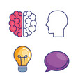 creative brain set icons vector image vector image