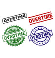 damaged textured overtime seal stamps vector image