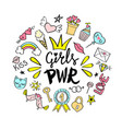 girls power lettering with girly doodles vector image