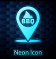 glowing neon map pointer with barbecue icon vector image vector image