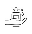 hand and antibacterial gel bottle line style vector image vector image