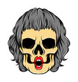 hand drawn coloured women skull with vector image vector image