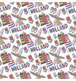 hand drawn holland seamless pattern with windmill vector image vector image