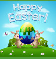 happy easter background with two rabbits and egg vector image vector image