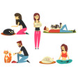 happy people with their cats set cute pets with vector image vector image