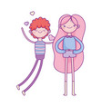 happy valentines day young man and smiling woman vector image