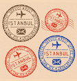 istanbul mail stamps collection faded colored vector image vector image