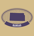 kansas map silhouette - oval stamp state vector image vector image