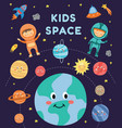kids in space - cute cartoon astronaut children in vector image