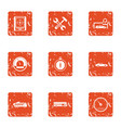 load time icons set grunge style vector image vector image