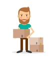 Moving house Man lifting cardboard boxes vector image
