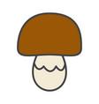 mushroom with brown cap cartoon flat icon vector image vector image